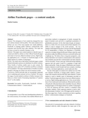 Airline Facebook pages – a content analysis