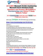 2018 Braindump2go New 70-535 PDF Dumps and 70-535 VCE Dumps