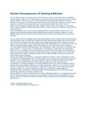 Social Consequences of Gaming Addiction