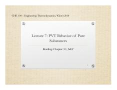 Lecture 7 - The PVT Behavior of Pure Substance
