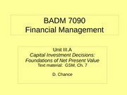 BADM 7090 IIIA 2011 - Capital Investment Decisions (Foundations of Net Present Value)