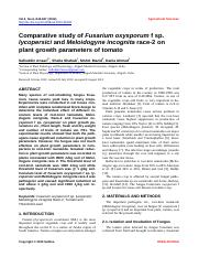 Comparative study of Fusarium oxysporum f sp. lycopersici and M. incognita race 2 on plant growth pa