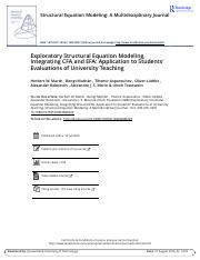 Exploratory Structural Equation Modeling Integrating CFA and EFA Application to Students Evaluations