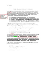 Answers for Study Questions on Natural selection F09