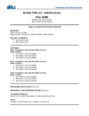 Resume Template - Chronological