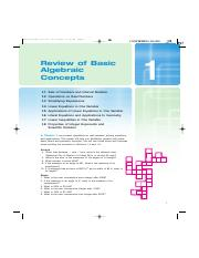 Review of Basic Algebraic Concepts