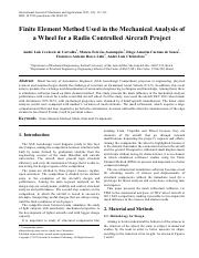 Finite Element Method Used in the Mechanical Analysis of a Wheel for a Radio Controlled Aircraft Pro