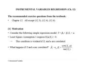Ch. 12 Instrumental Variables Regression