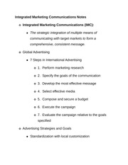 Integrated Marketing Communications Notes