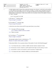 Prob & Stats HW Sheet w answers- helpful examples