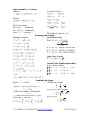 Algebra Equation Cheat Sheet Pg. 2