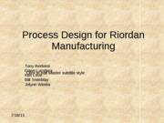 design for riordan manufacturing essay