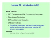 Lect 2.2 Introduction to Csharp