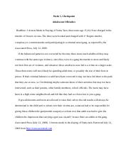 ADJ215 Week 5, Checkpoint, Adolescent Offenders.docx