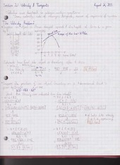 Chapter 2.1 Velocity and Tangents