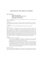 Dynamical System syllabus
