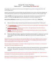 Problem Set 2 Endocrinology with Answer Key pdf - Biology
