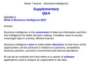 lecture q&a - w7 Business Intelligence