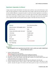 Mixtures and Solutions Activity & Data Sheet (1)