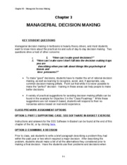 Chapter 3 MANAGERIAL DECISION MAKING