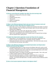 Chapter 2 Questions Foundations of Financial Management