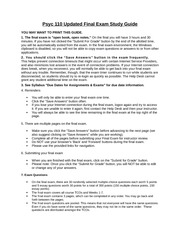 PSYC 110 Updated Final Exam Study Guide April 2014