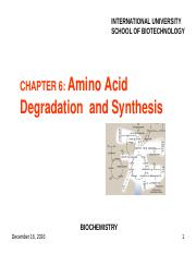 Chapter 6 Amino Acid Degradation  and Synthesis.ppt