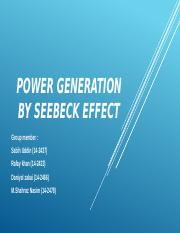 Power generation by SEEBecK EFFECT