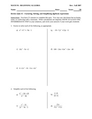 Quiz 2 Solution on Factoring and Solving Quadratics, Simplifying Rational Expressions
