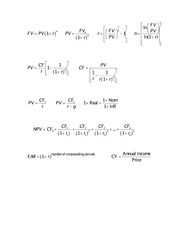 FIN 350 formula sheet for midterm