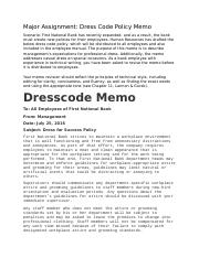 Dress Code Policy Memo - To All First National Bank ...