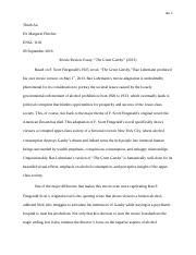 The Great Gatsby Critical Review Essay
