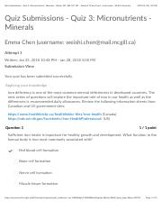 Quiz Submissions - Quiz 3: Micronutrients - Minerals - Winter 2018 - CHEM-181-761 - World of Chem: F