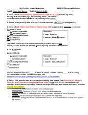 NUTRITION My One Day Intake vs My Plate Worksheet (1) (1) - My One ...