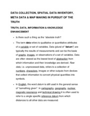 Data Collection, Spatial Data Inventory, Metadata & MapMaking