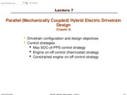 Lecture 7 - Parallel (Mechanically Coupled) Hybrid Electric Drivetrain design