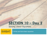 Linear Equations Day 2