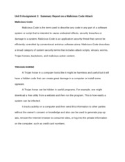 Unit 9 Assignment 2 Summary Report on a Malicious Code Attack