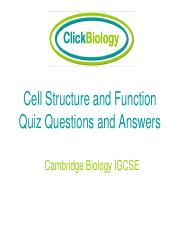 Cell Structure and Function Quiz