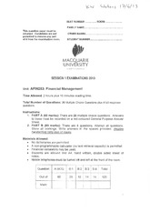 MQ_FinancialManagement_AFIN253_FinalExam_Sem1_2013_HandWrittenAnswers