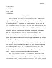 Reflection essay on english 101