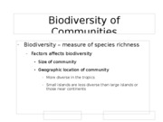 Biodiversity of Communities
