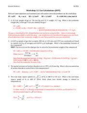 CHEM 102 Workshop 12 - Gas Calculations Key