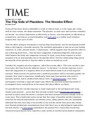 The Flip Side of Placebos the Nocebo Effect