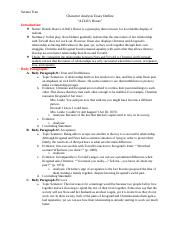 Character analysis essay outline