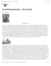 "Social Organization â€"" the Family â€"" North American Indians"