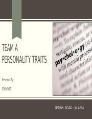 SCI 220 Week 3 personality traits
