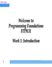 Week 1 Lecture - Introduction to programming