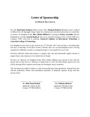 Letter of Sponsorship In case of Dependent.docx