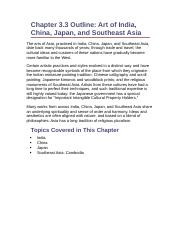 Chapter 3.3 Outline- Art of India, China, Japan, and Southeast Asia